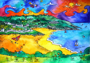 Aberporth Yellow Beach Mounted Print