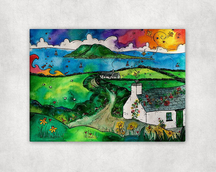 Bardsey Island Little Cottage Printed Canvas