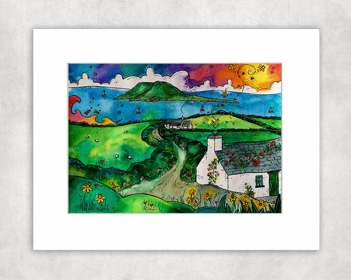Bardsey Island Little Cottage Mounted Print