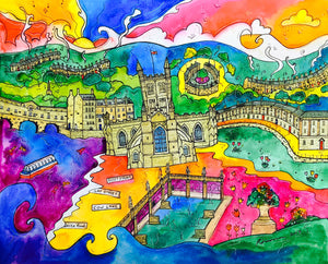 Bath Blissful City Mounted Print