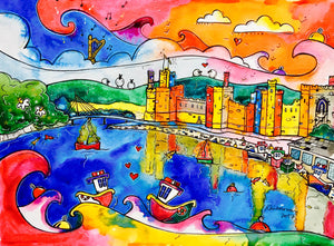 Caernarfon Colourful Reflections Printed Canvas