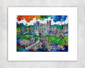 Caerphilly Mythical Castle Mounted Print