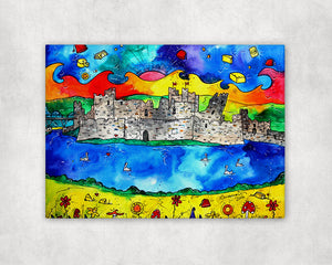 Caerphilly Colourful Castle Printed Canvas