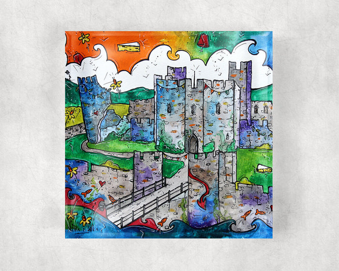 Caerphilly Mythical Castle Glass Coaster