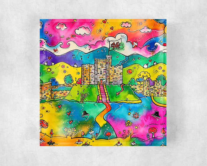 Cardiff Castle of Dreams Glass Coaster