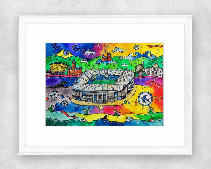 Cardiff City Stadium Original Watercolour Painting