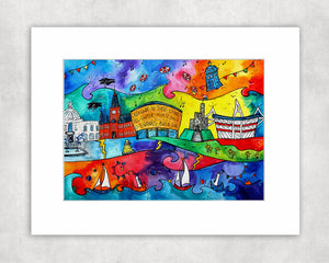 Cardiff Magical Attractions Mounted Print