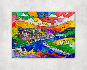 Carmarthen Happy Sheep Printed Canvas