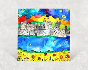 Caerphilly Colourful Castle Card