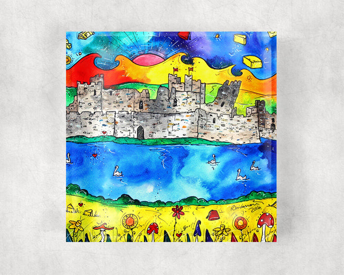 Caerphilly Colourful Castle Glass Coaster