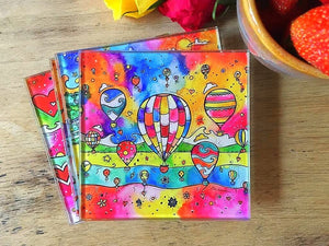 Colourful Balloons Glass Coaster