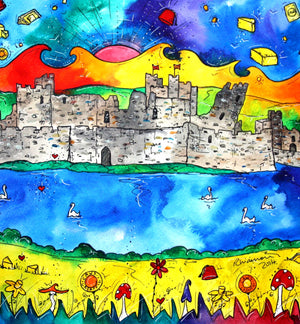 Caerphilly Colourful Castle Mounted Print