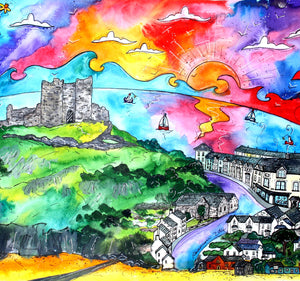 Criccieth Castle View Mounted Print