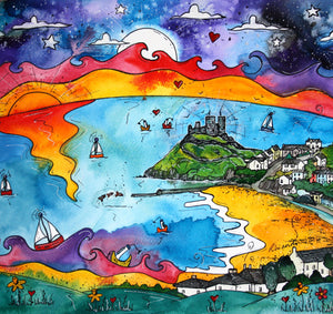 Criccieth Full Moon Mounted Print
