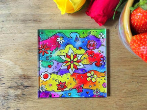 Funky Flowers Glass Coaster