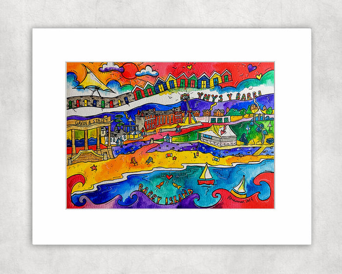 Barry Island Happy Beach Mounted Print