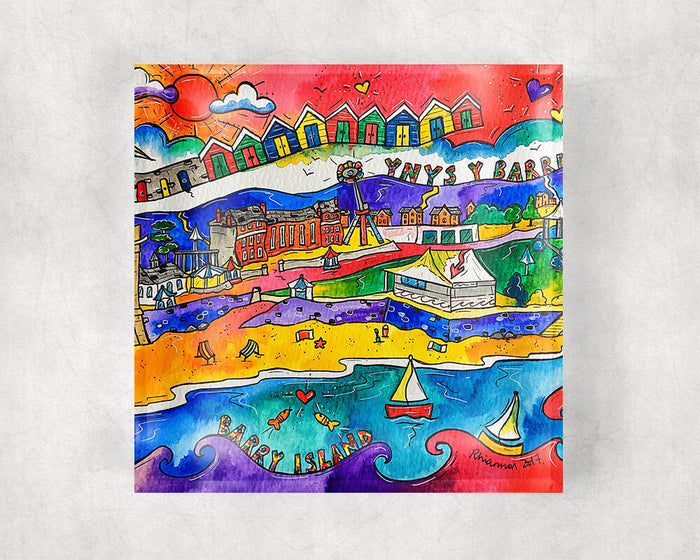 Barry Island Happy Beach Glass Coaster