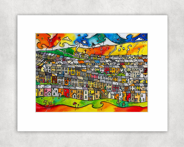 Happy Homes - Welsh Valleys Mounted Print