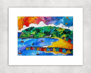 Llanbedrog Colourful Beach Huts Mounted Print