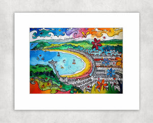 Llandudno Colourful Promenade Mounted Print