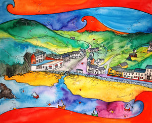 Llangrannog Hidden Village Printed Canvas