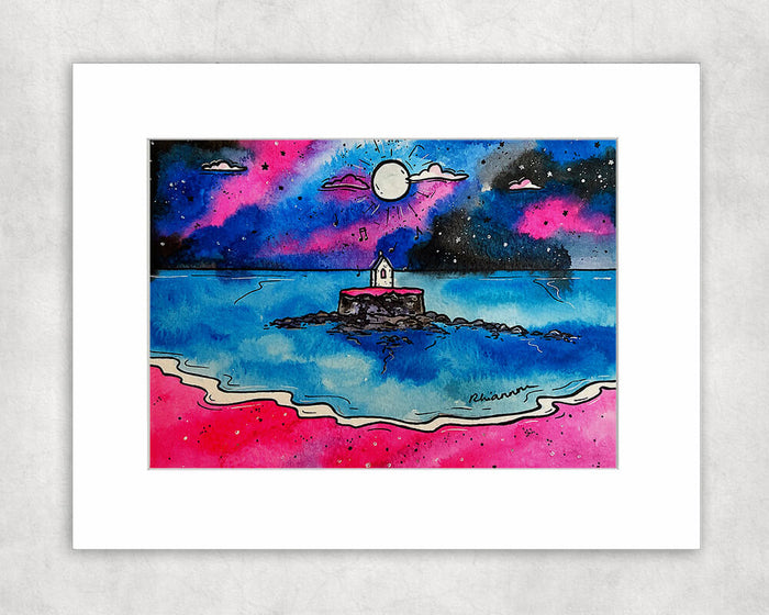 Magical Church in the Sea (St Cwyfan) Mounted Print