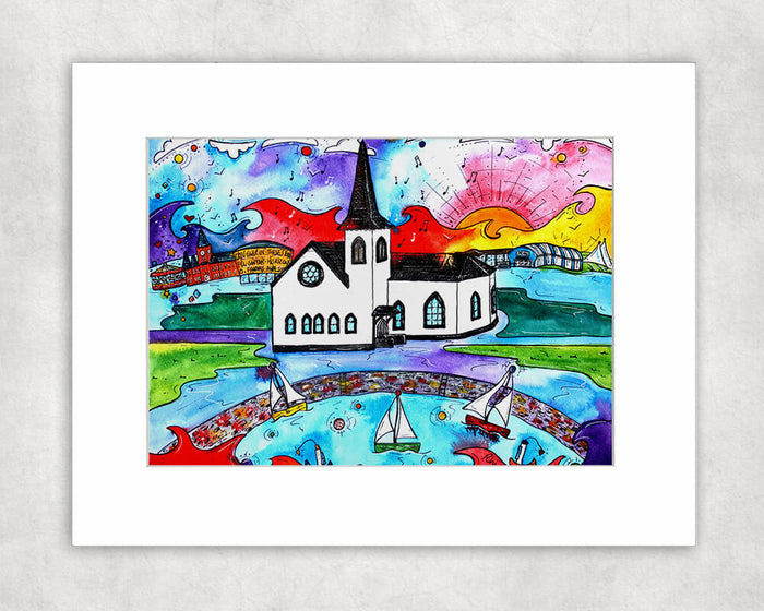 Cardiff Magical Norwegian Church Mounted Print