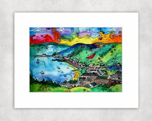 Mumbles Loveboats and Butterflies Mounted Print
