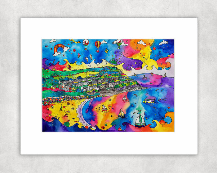 New Quay Lively Beach Mounted Print