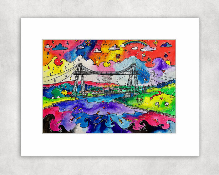 Newport Tremendous Transporter Bridge Mounted Print