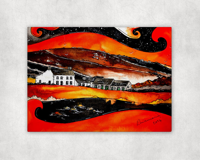 Orange Farmhouse Printed Canvas