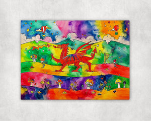 Our Colourful Welsh Dragon Printed Canvas