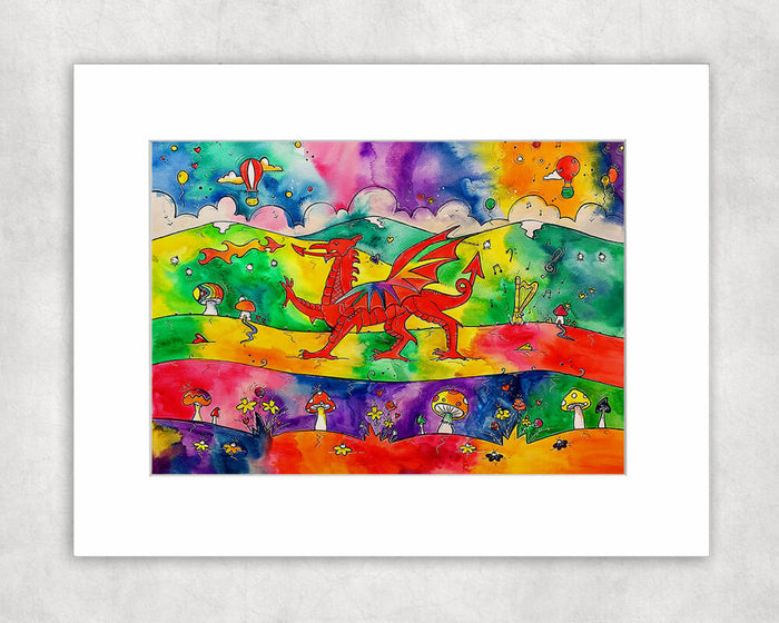 Our Colourful Welsh Dragon Mounted Print