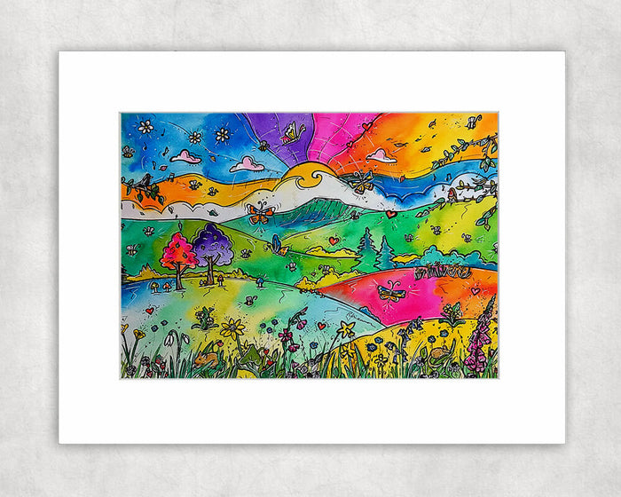 Pen y Fan Wild Flowers Mounted Print