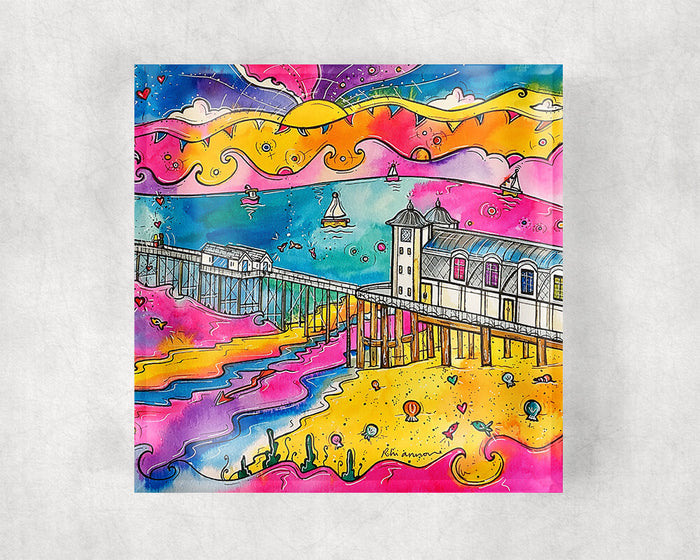 Penarth Pink Paradise Glass Coaster