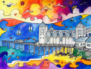 Penarth Playful Pier Printed Canvas