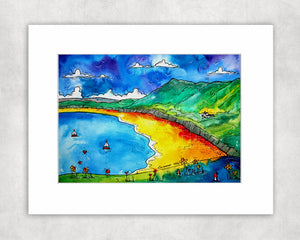 Rhossili Beautiful Bay Mounted Print