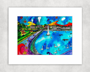 Roath Park Swans In Love Mounted Print