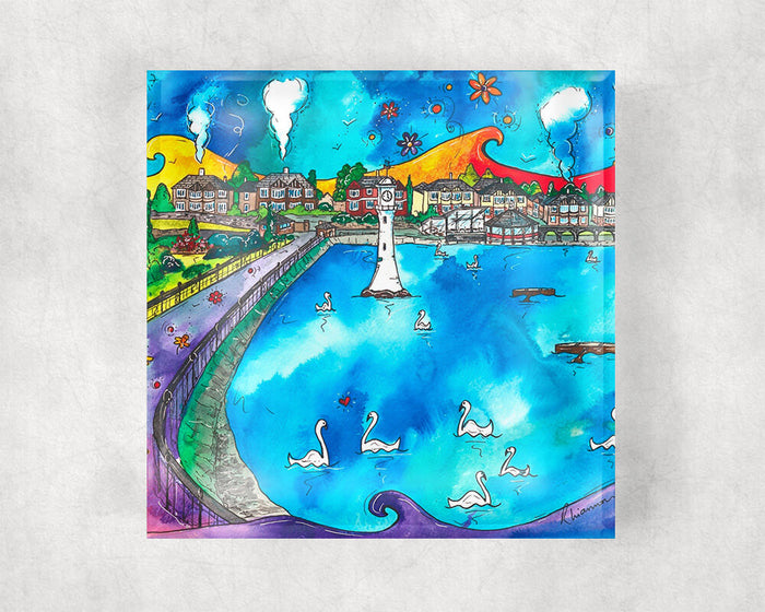 Roath Park Swans in Love Glass Coaster