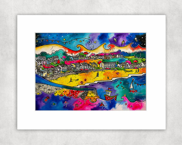 Saundersfoot Romantic Beach Mounted Print