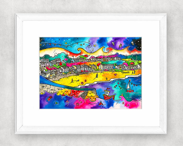 Saundersfoot Romantic Beach Original Watercolour Painting