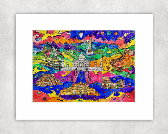 Seven Wonders of the World Mounted Print