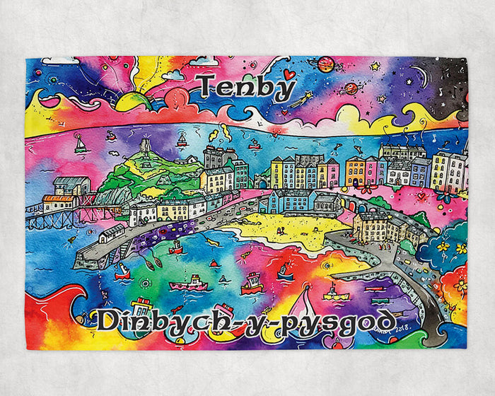 Tenby Charming Harbour Tea Towel
