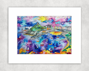 Tenby Purple Paradise Mounted Print