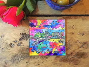 Tenby Charming Harbour Glass Coaster