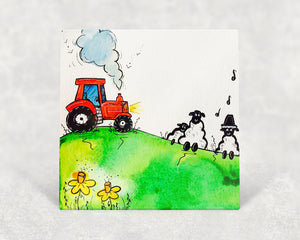 Tractor and Singing Sheep Card