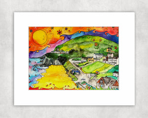 Tresaith Perfect Beach Mounted Print