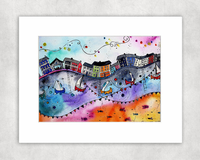 Aberaeron Rainbow Flags Mounted Print