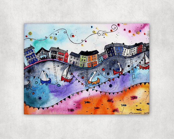 Aberaeron Rainbow Flags Printed Canvas