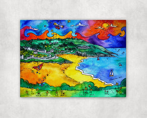 Aberporth Yellow Beach Printed Canvas